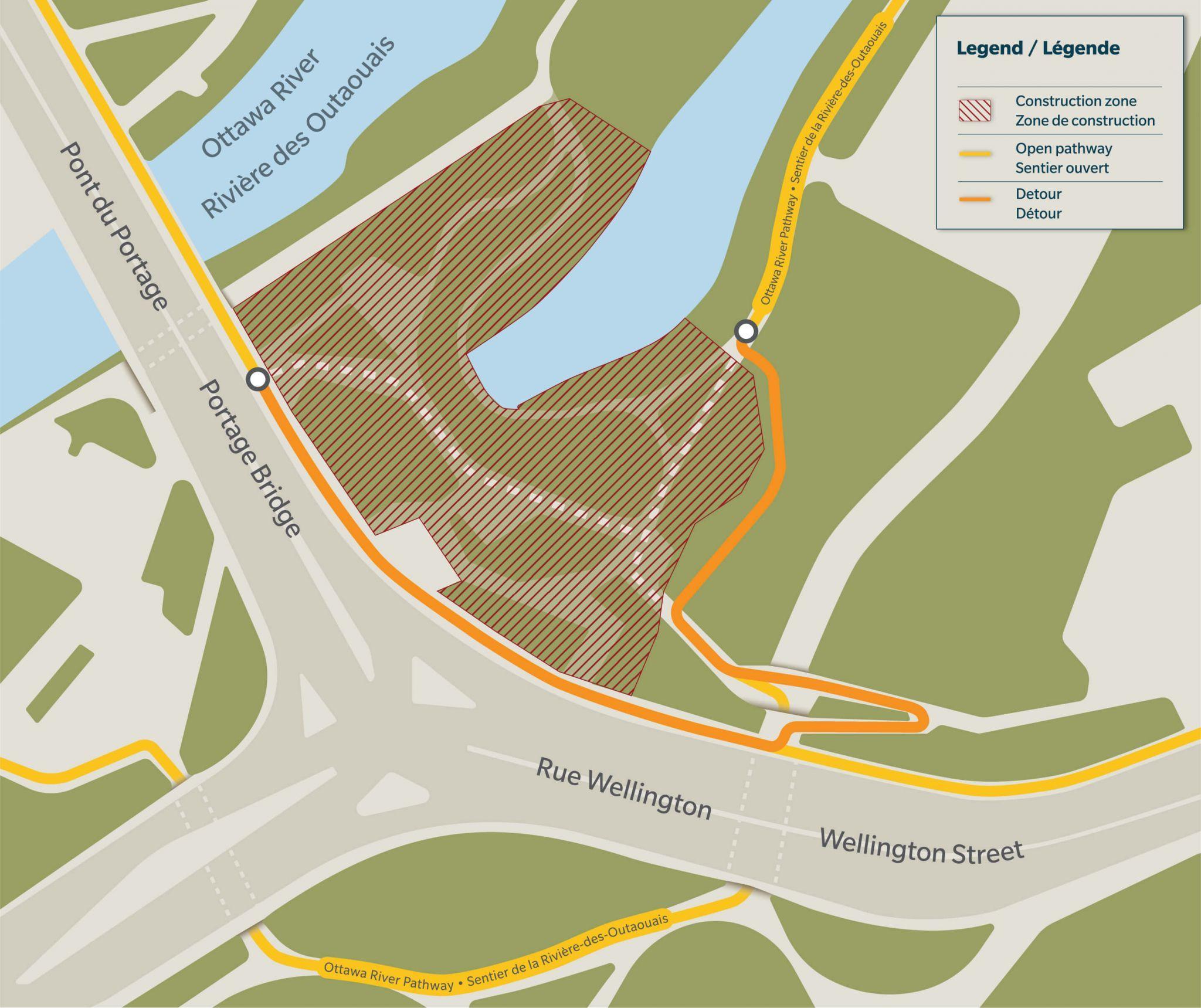 Carte du détour empruntant la rampe d'accès au-dessus du tunnel qui passe sous la rue Wellington.