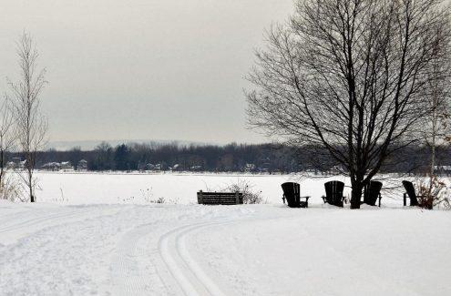 Des chaises Adirondack devant la rivière, le long du sentier d'hiver Ski Héritage Est.