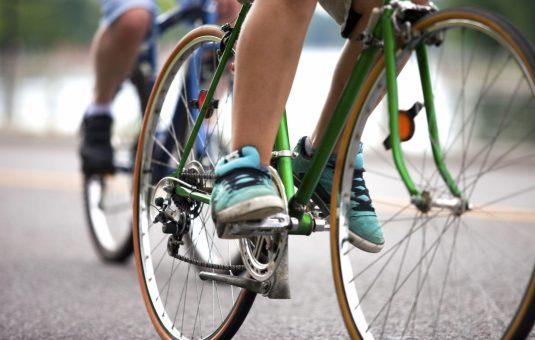 Cyclist riding a bike for Nokia Sunday Bike Day.
