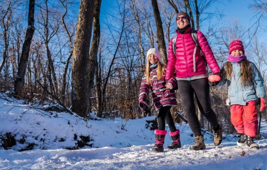A family winter hiking