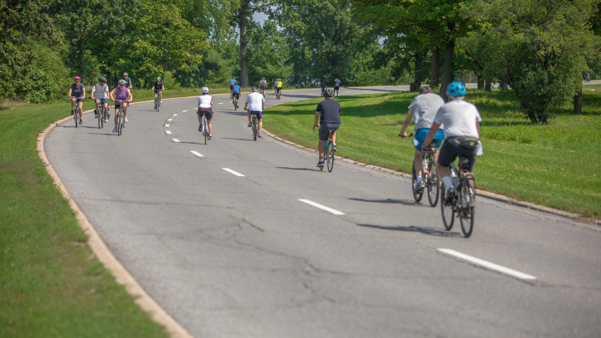 Cyclists on the parkway on a summer day