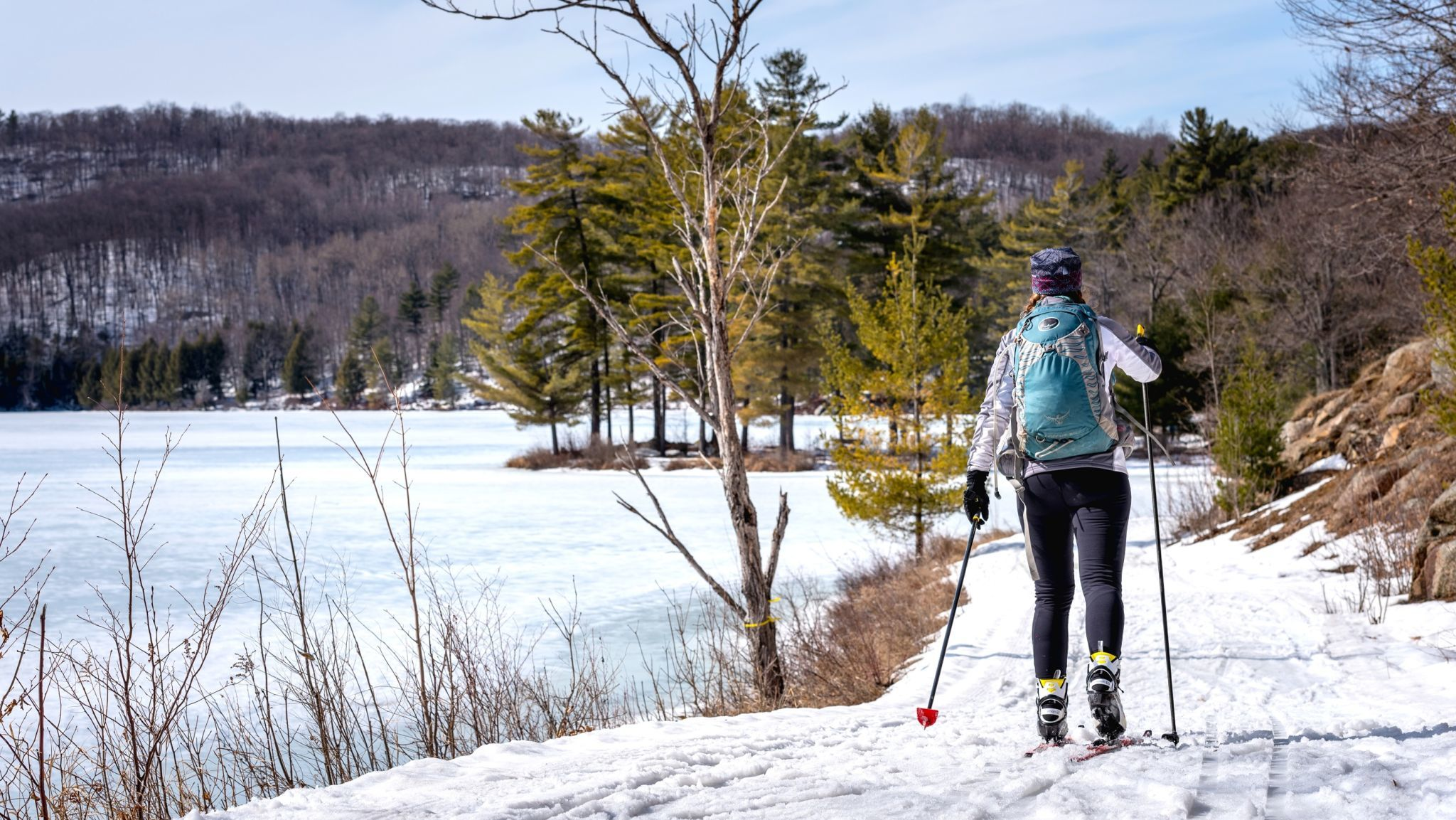 Cross-country skiing in the Philippe Lake area.