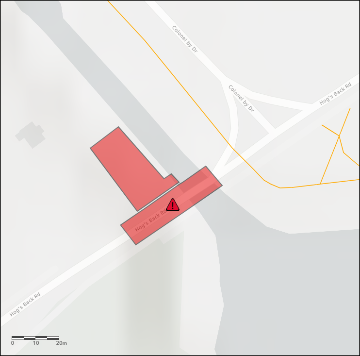 Map showing the closed area. The link leads to an interactive version of the map.