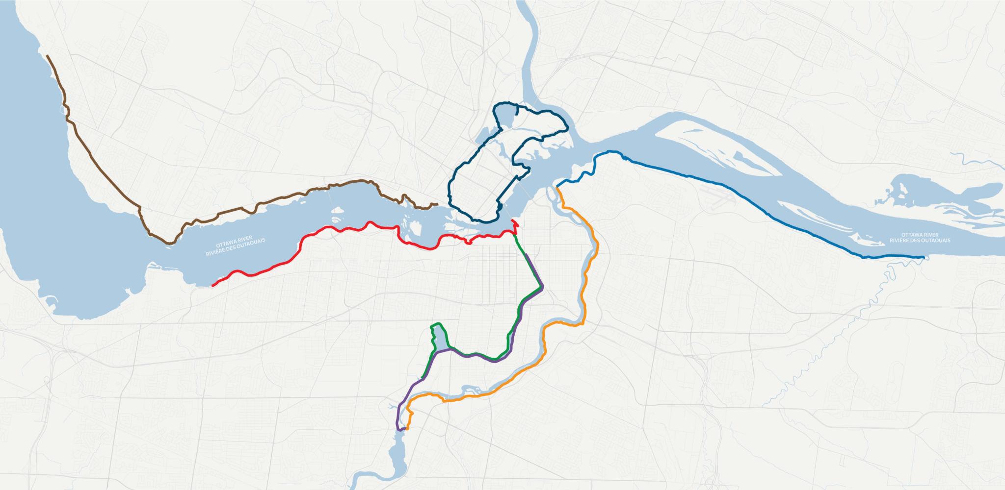 Carte illustrant les sept itinéraires dont il est question dans le blogue, chacun ayant sa couleur propre.