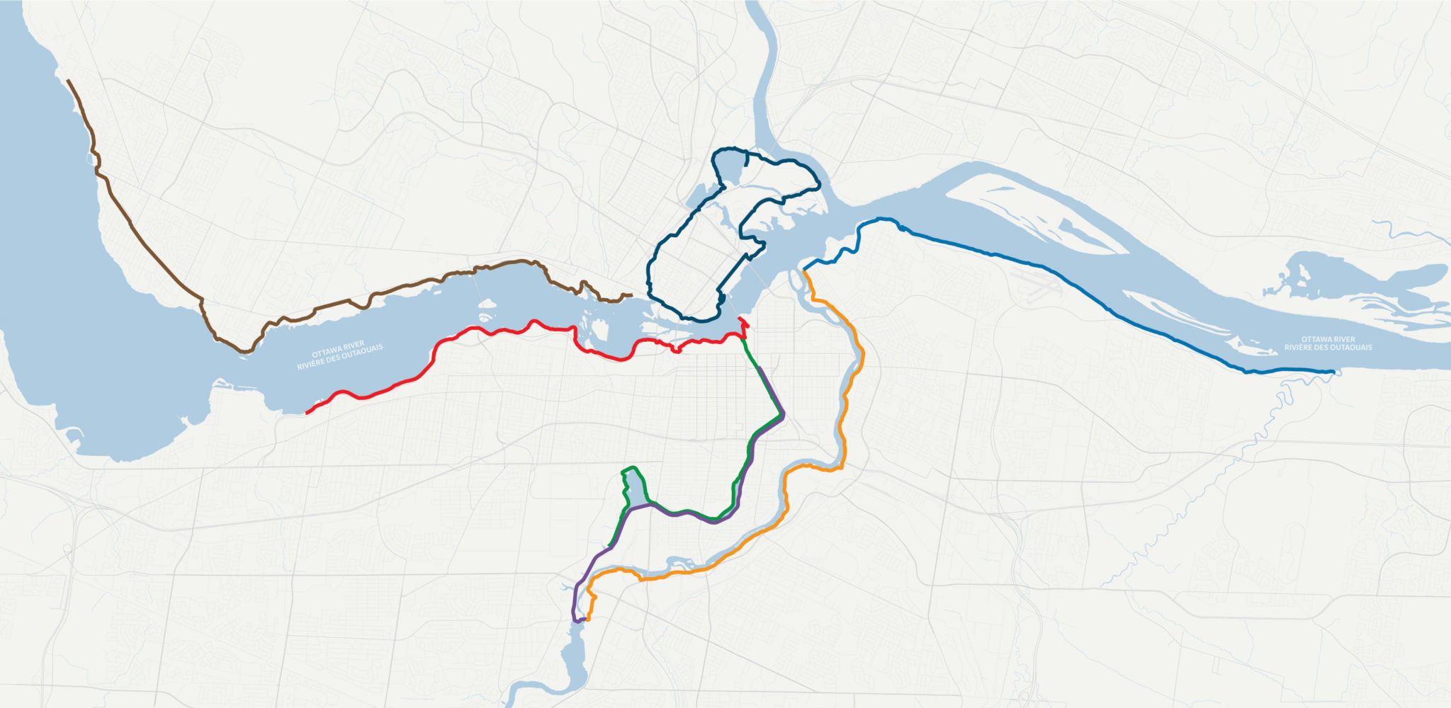 Map illustrating the 7 routes featured in this blog, each route identified in a different colour.