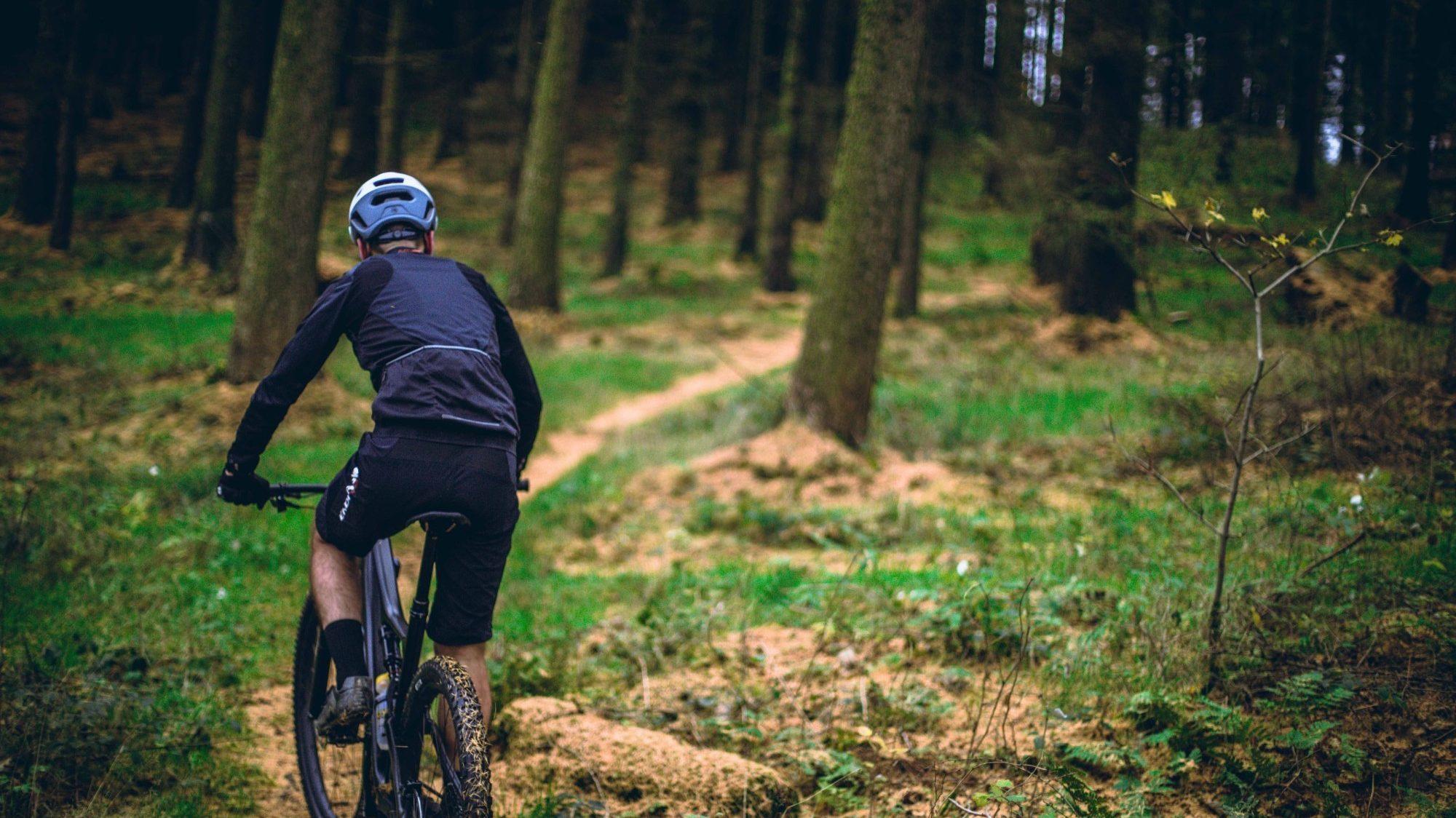 Cyclist on a mountain biking trail