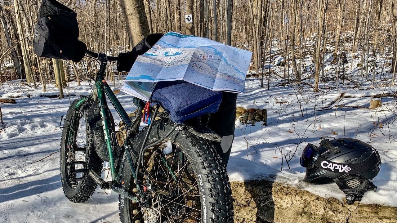Typical snow biking patroller equipment
