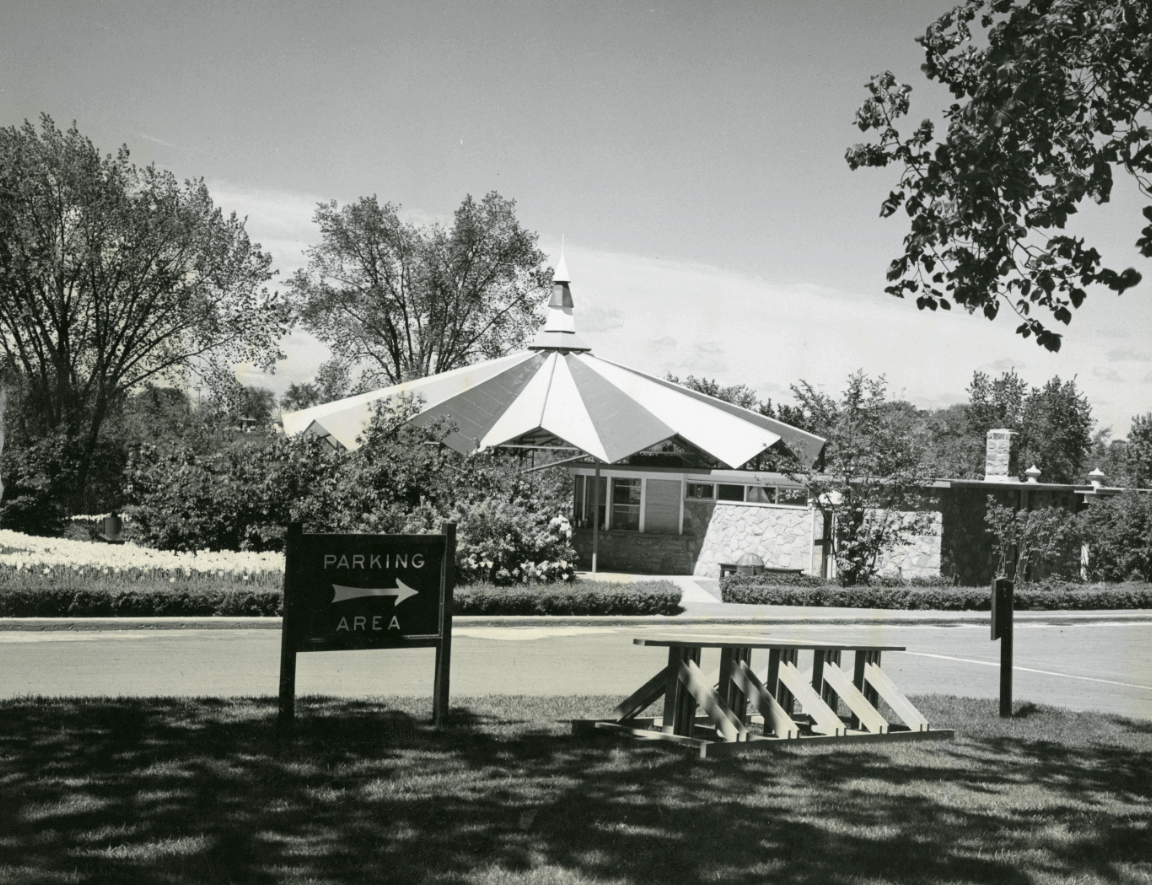 Hog's Back Park: pavilion and bicycle racks. August 1958. Credit: Library and Archives Canada / E999913931