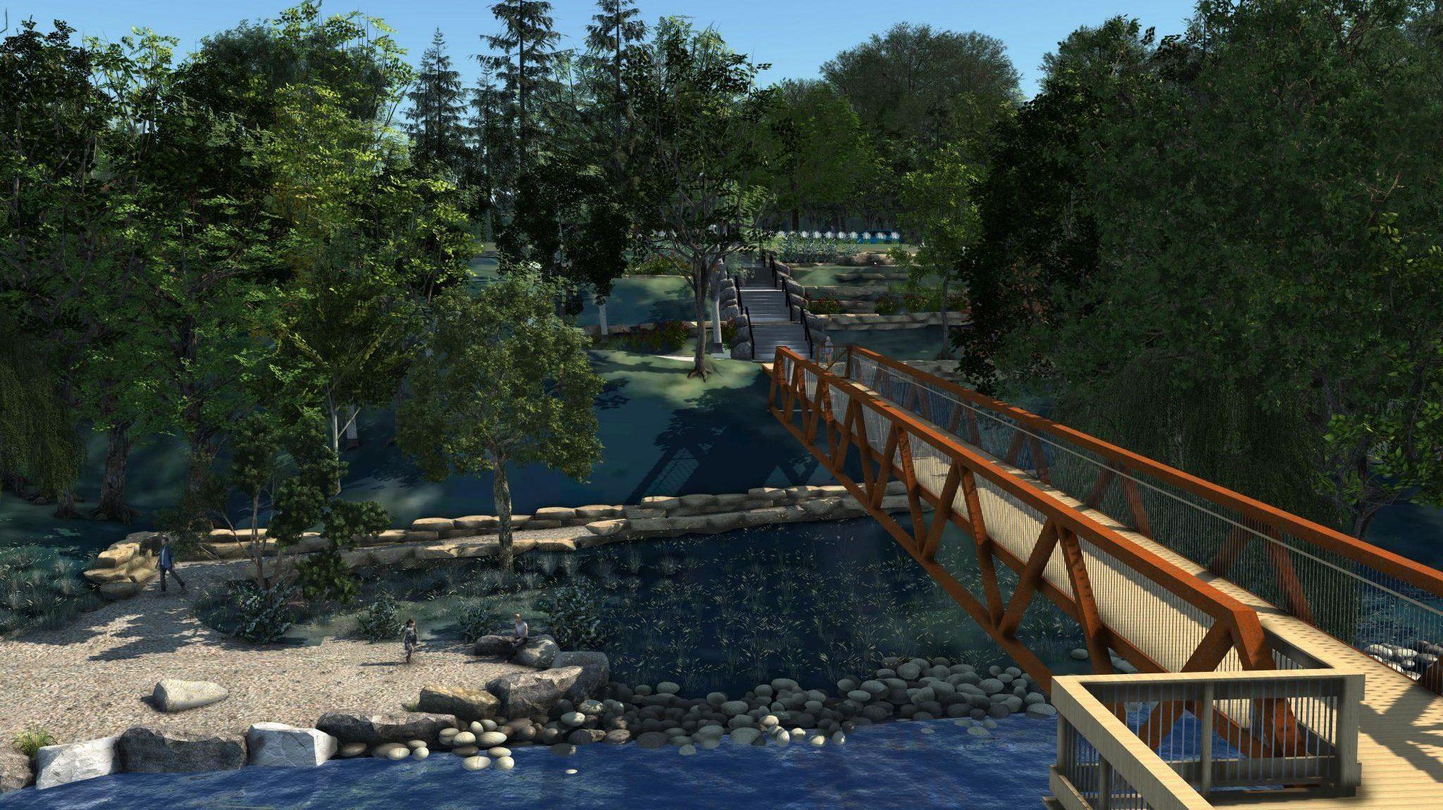 Vue du terrain depuis le pont du Pavillon de la rivière de la capitale nationale