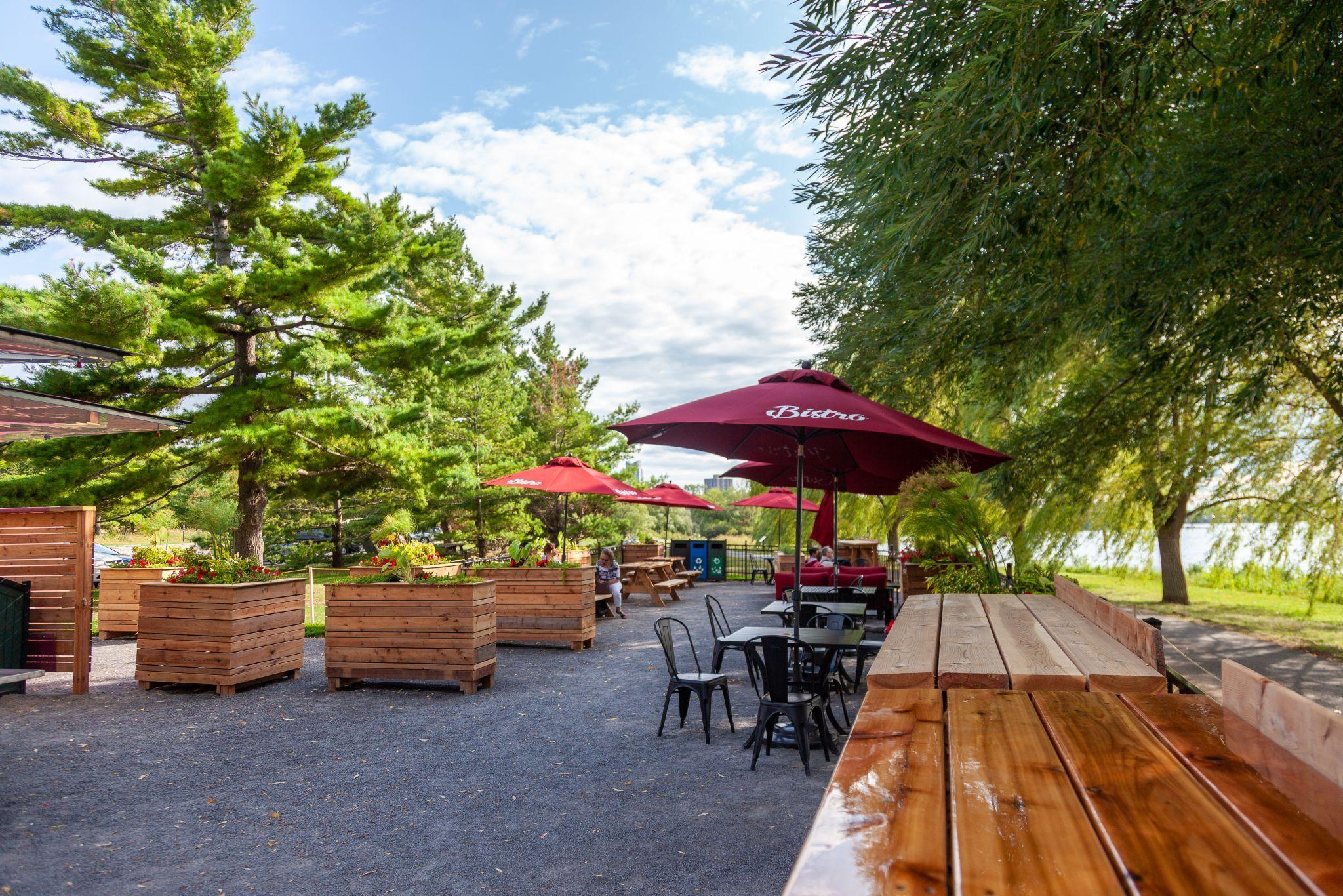 Bistro patio at Remic Rapids Park.