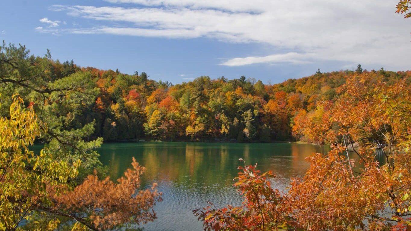 Le lac Pink en automne