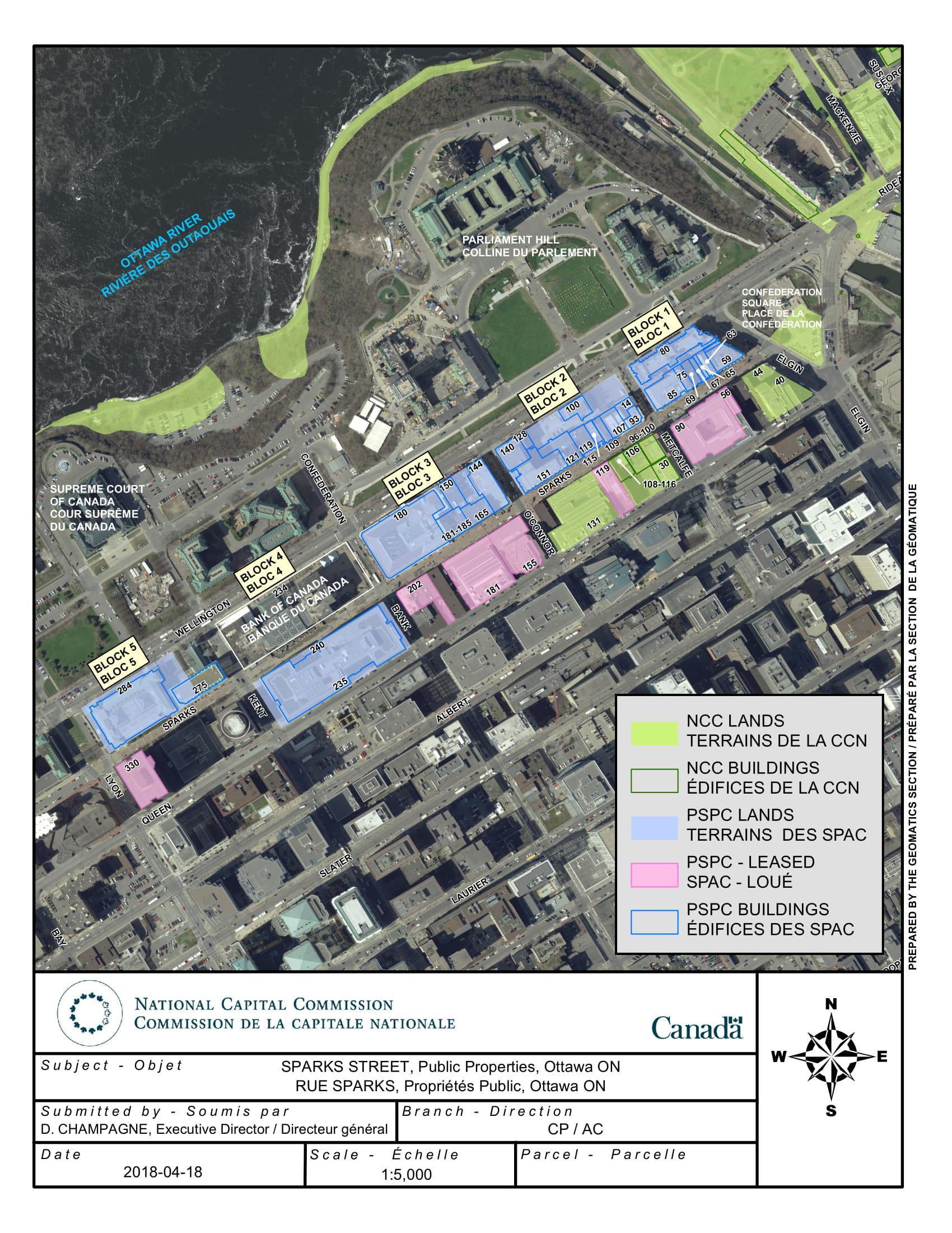 Carte montrant les propriétés publiques sur la rue Sparks