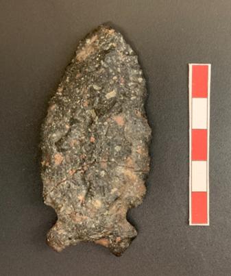 Pointe de pierre à la pointe triangulaire et à la base concave