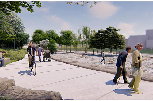 Rendering of the universally accessible pathway.