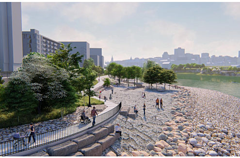 General rendering of the park with the exposed bedrock shelves, a universally accessible pathway and two lookouts.