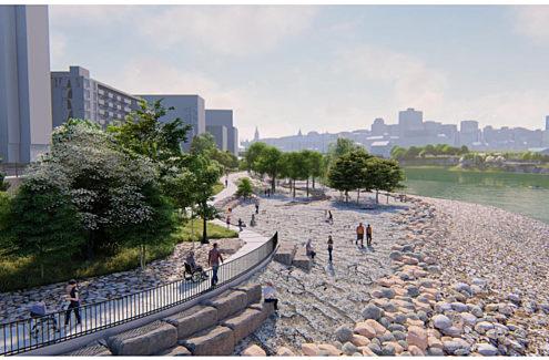 Rendu général du parc avec des blocs de roche exposée, un sentier universellement accessible et deux belvédères.