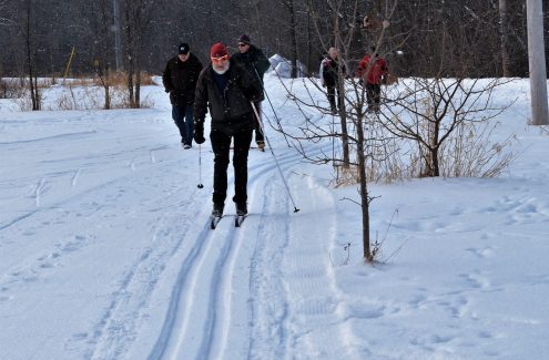 Skiers and walkers sharing the Ski Heritage East winter trail.