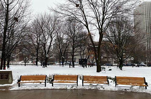 A bench in winter, located in Confederation Park.