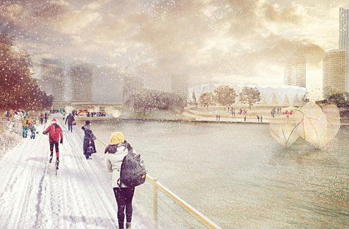 Plage urbaine en hiver