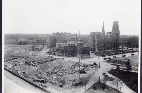 Confederation Park area, looking southwest from Union Station, May 7, 1929. Federal District Commission records. Source: Library and Archives Canada (e999908744-u)