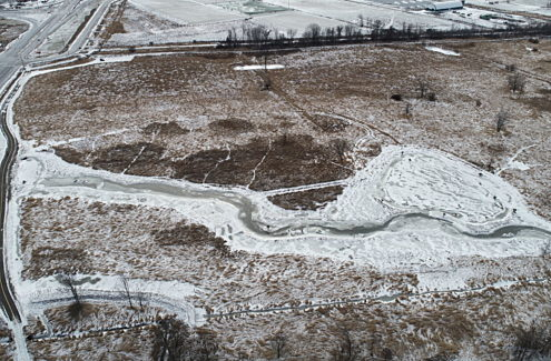 Aerial view of wetland improvements at Stillwater Creek, late December 2020.