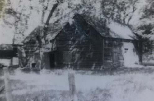 A black and white picture of the Gray homestead, among the first established by Europeans near Mer Bleue. The original Gray barn stabled their dairy herd, but it caught fire and burned in 1947.