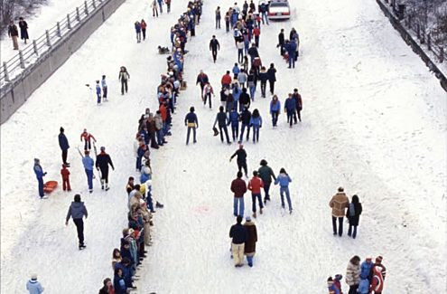 One of two attempts (1981 and 1982) to break the Guinness World Record for the Longest Human Chain (7.8 km) — in solidarity with the United Way.