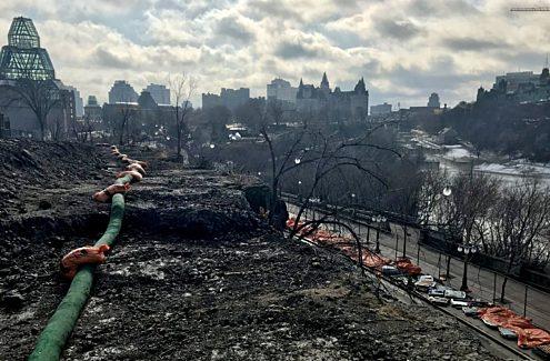 Vue d'Ottawa à partir de la pointe Nepean, en cours de réaménagement