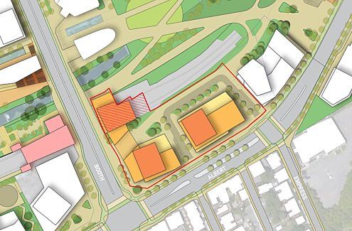 Map showing the boundaries of the 1.1-hectare Library Parcel site, located at the northeast corner of Booth and Albert streets in Ottawa's LeBreton Flats area.
