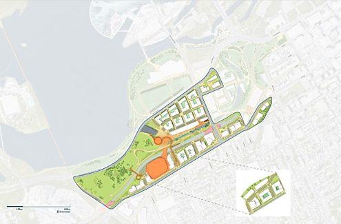 Carte du site du Plan directeur conceptuel des plaines LeBreton