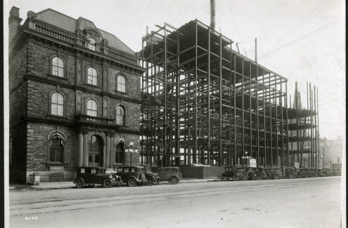Construction of the Confederation Building, with view looking northeast on Wellington Street, May 4, 1929. Federal District Commission records. Source: Library and Archives Canada (e999908718-u)