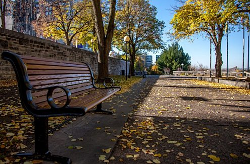 Some of the benches in the Garden of the Provinces and Territories.