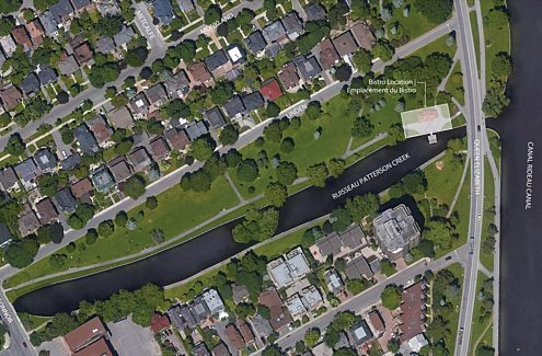 Bird's-eye view of Patterson Creek Park with permitted boundaries surrounding the pavilion.