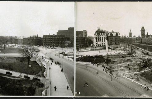 Vue des rues Elgin et Wellington, du Monument commémoratif de guerre du Canada, au centre, et d'une section terminée du pont Plaza. 3 mai 1939. Source : Bibliothèque et Archives Canada (e999909231-u)
