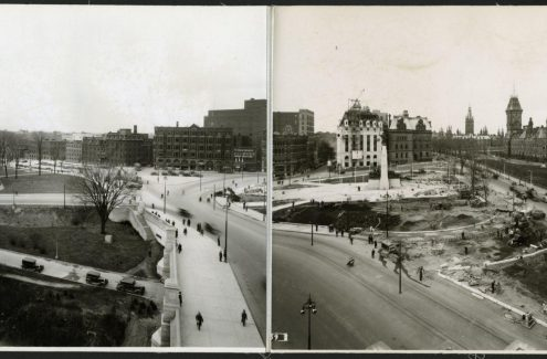 View of Elgin and Wellington streets, the National War Memorial in the centre, and a completed section of the Plaza Bridge, May 3, 1939. Source: Library and Archives Canada (e999909231-u)
