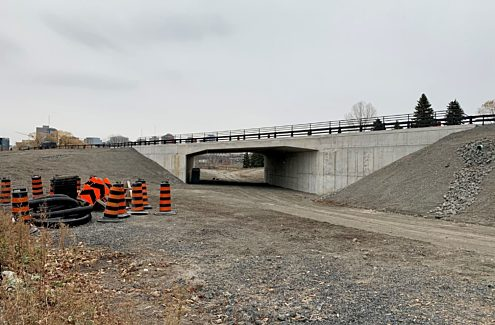 A recently rebuilt overpass creates a tunnel for Segment 1 of the pathway under the Sir John A. Macdonald Parkway
