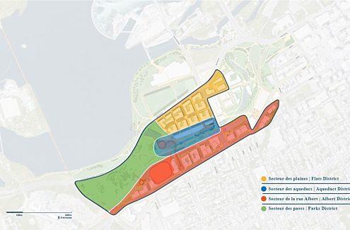 Carte des quatre principaux secteurs des plaines LeBreton. Ceux-ci sont le secteur des plaines, le secteur des aqueducs, le secteur de la rue Albert et le secteur des parcs.