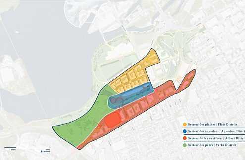 Map of the four main districts of LeBreton Flats. Includes the Flats District, Aqueduct District, Albert District and Parks District.