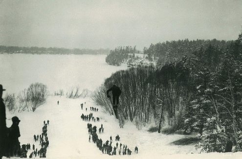Ski jumping in Rockcliffe Park. February 1929. Credit: National Capital Commission