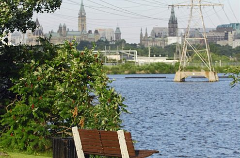 View of the Ottawa River and Parliament Hill from Portageurs Park