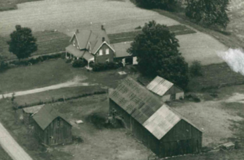 Black and white aerial photograph of the Whyte farm.