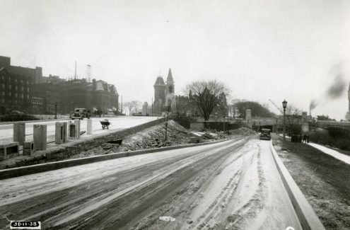 Road along the canal, leading under the Plaza Bridge. November 30, 1938. Credit: Library and Archives Canada / E999909216-u