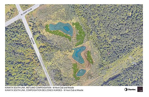 Map of the wetland compensation project south of West Hunt Club Road and east of Moodie Drive.
