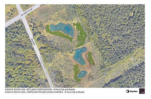 Carte du projet de compensation pour la perte de milieux humides au sud du chemin Hunt Club Ouest, à l'est de la promenade Moodie.