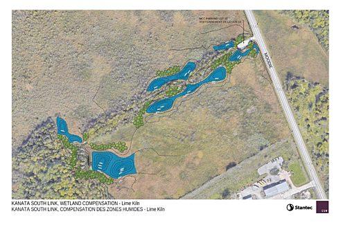 Carte du projet de compensation pour la perte de milieux humides à proximité du sentier du Four-à-Chaux (P10).