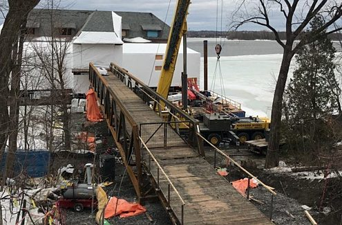 At the National Capital River Pavilion, the pedestrian bridge has been installed and structural support work had been ongoing within the building.