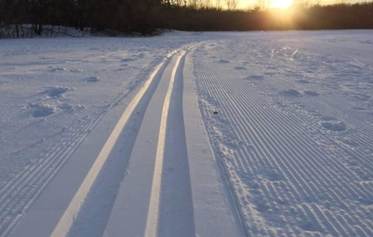 Close up of a groomed ski trail