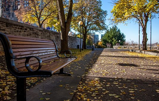 Benches in the Garden of the Provinces and Territories in the fall