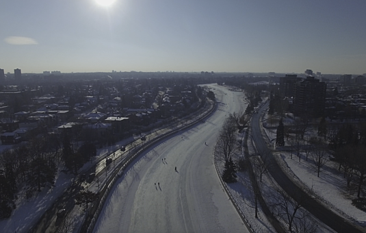 Aerial view of the Rideau Canal Skateway