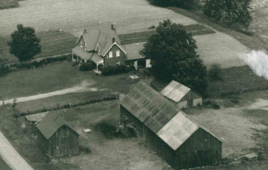 Black and white aerial photo of the Whyte farm.